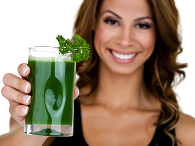 drinking green juice